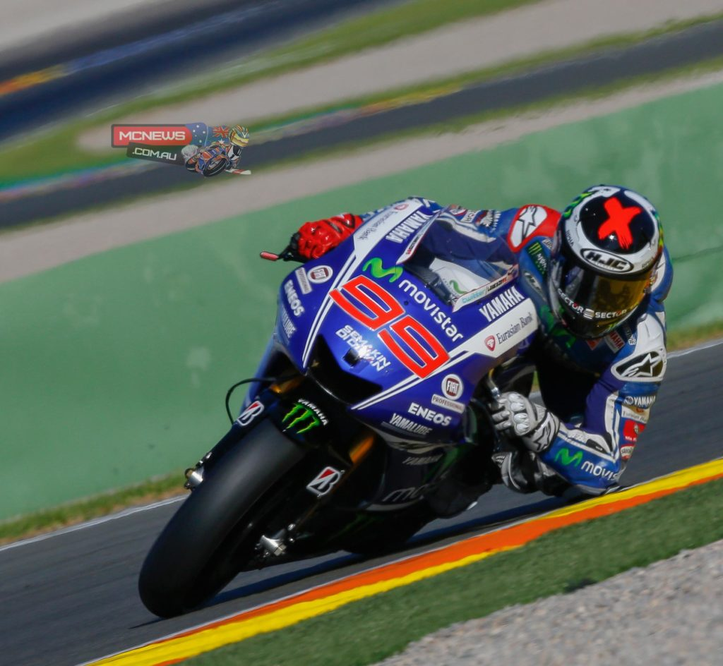 Jorge Lorenzo was quickest on the opening day of 2015 pre-season testing