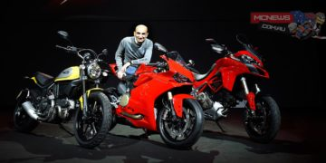 """""""For Ducati, 2015 is a milestone"""", stated Claudio Domenicali, CEO of Ducati Motor Holding during the presentation press conference, """"as Ducati enthusiasts will be able to choose from a range more technologically advanced and innovatively designed than ever. A sports bike, the 1299 Panigale, that promises to set a whole new on-track standard thanks to raw power and sophisticated electronics, and a new all-round Multistrada 1200 that combines sports handling and performance with smoothness and low fuel consumption at a whole new level. With 'The Land of Joy', the Scrambler brand will be providing dealerships with a breath of fresh air and high spirits, offering a bike with a never-before-seen mix of motorcycling modernity and heritage""""."""