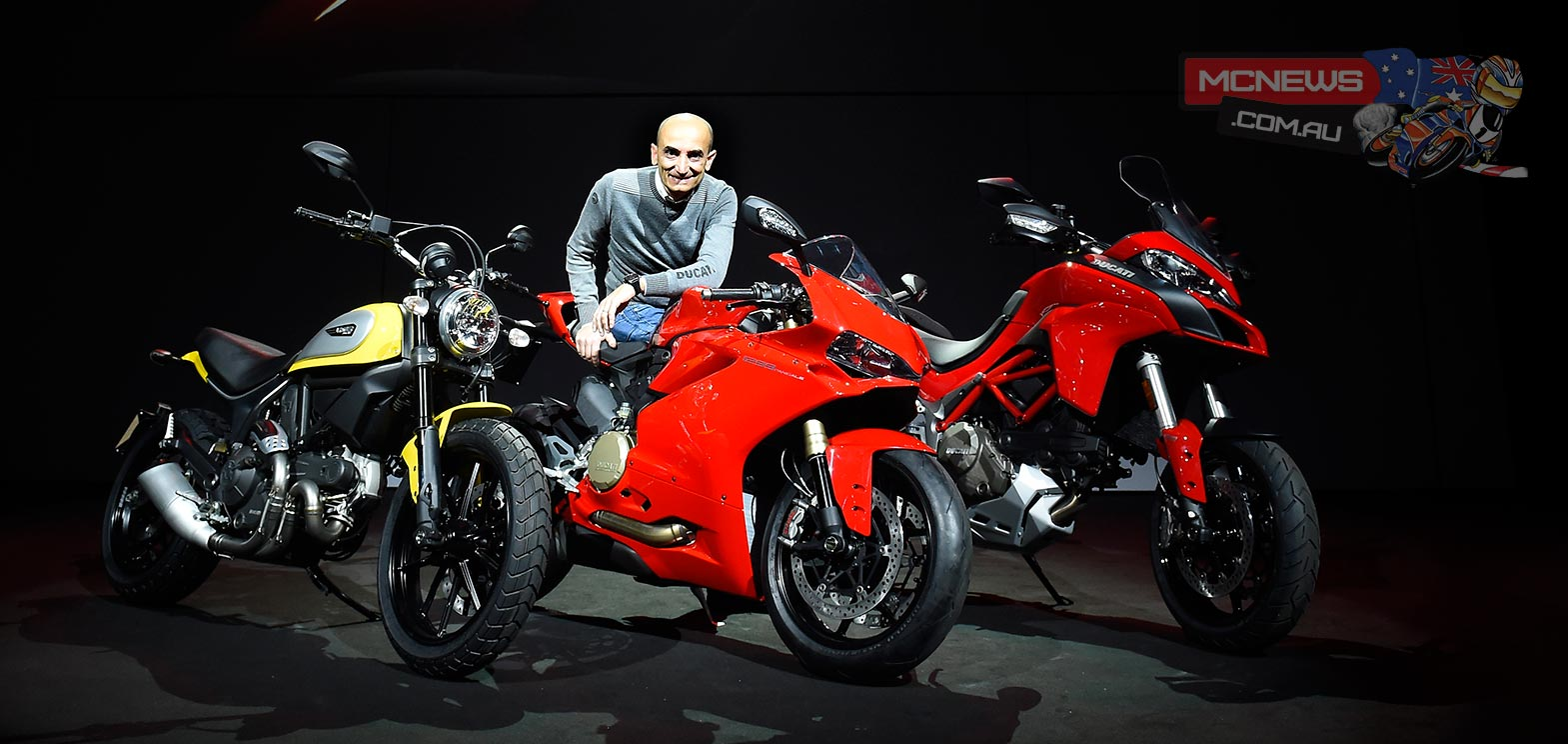 """For Ducati, 2015 is a milestone"", stated Claudio Domenicali, CEO of Ducati Motor Holding during the presentation press conference, ""as Ducati enthusiasts will be able to choose from a range more technologically advanced and innovatively designed than ever. A sports bike, the 1299 Panigale, that promises to set a whole new on-track standard thanks to raw power and sophisticated electronics, and a new all-round Multistrada 1200 that combines sports handling and performance with smoothness and low fuel consumption at a whole new level. With 'The Land of Joy', the Scrambler brand will be providing dealerships with a breath of fresh air and high spirits, offering a bike with a never-before-seen mix of motorcycling modernity and heritage""."