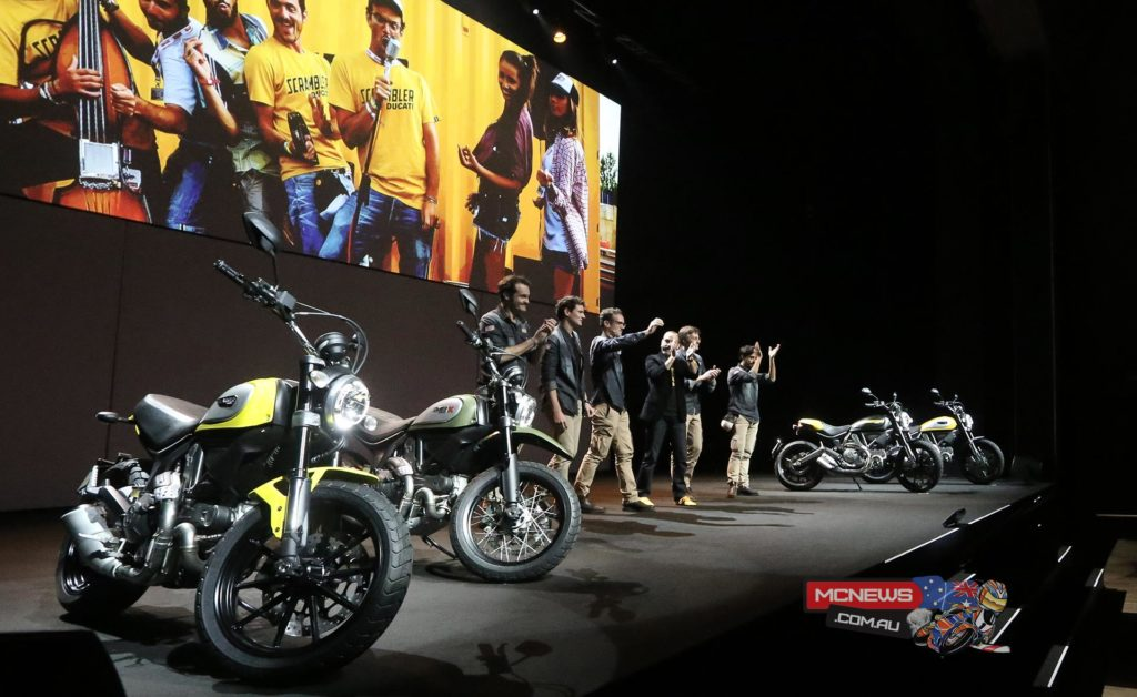 "Claudio Domenicali, CEO of Ducati, presents the new motorcycles for 2015 in Milan: two completely new bikes, the 1299 Panigale and new Multistrada 1200, ready to compete for the ""best bike"" title at EICMA 2014"