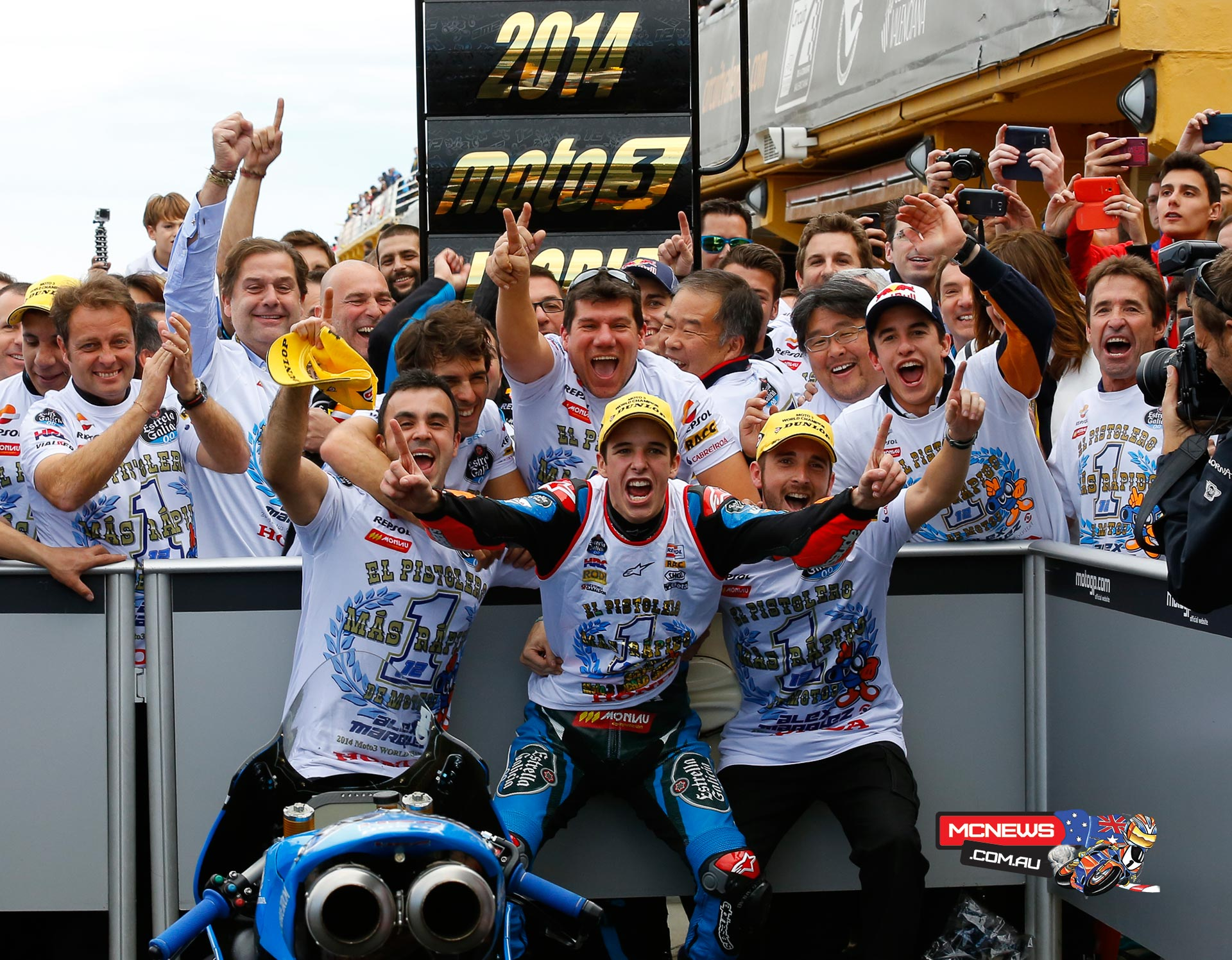 Alex Marquez celebrates 2014 Moto3 World Title