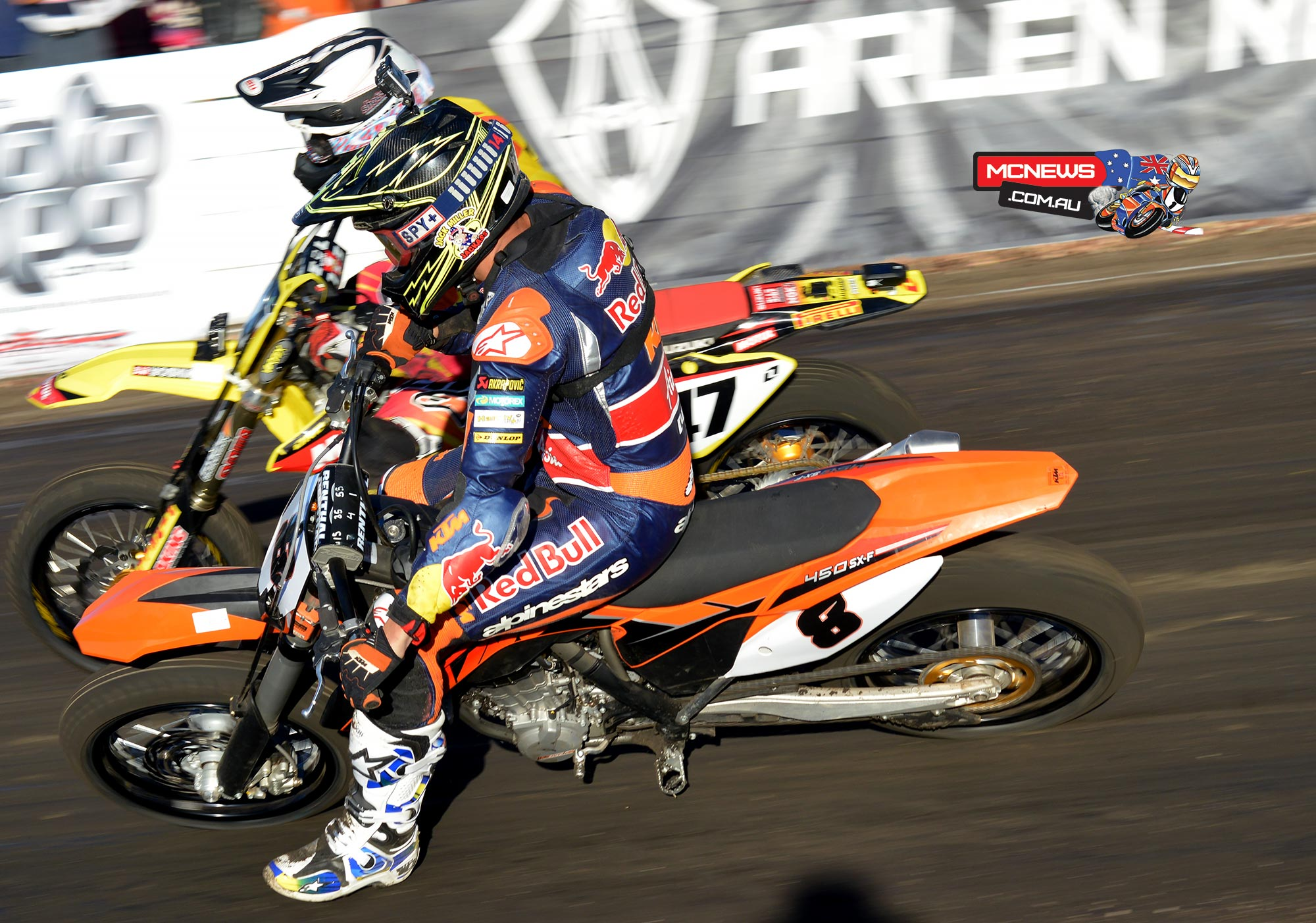 Jack Miller at the 2014 Bayliss Classic tussling with Wayne Maxwell