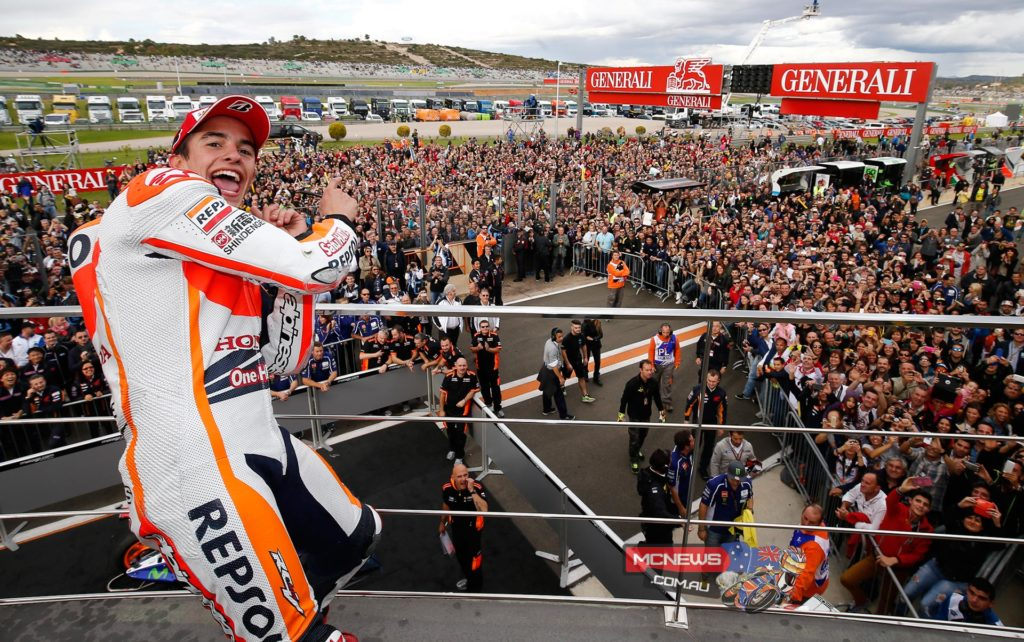 "Marc Marquez, Repsol Honda: race winner - ""I am so pleased, especially for my brother! It is a very happy day, even more than in Motegi when I was crowned champion. Today Alex took the Moto3 title that he deserved, and to cap it off I was able to close the year with a victory here in Valencia. I congratulate my brother for his season, because both him and Honda have done a great job this year! Now it's time to celebrate in the way that the occasion deserves, because it will be difficult to repeat another season like this. During today's race I was reminded of Aragon, because it was raining and there was a moment in which I considered whether or not to change the bike. In the end we stayed calm and today we were successful with our strategy. It was an ordeal which I enjoyed but suffered a bit at times! Thanks to the whole team for all their efforts this season!"""