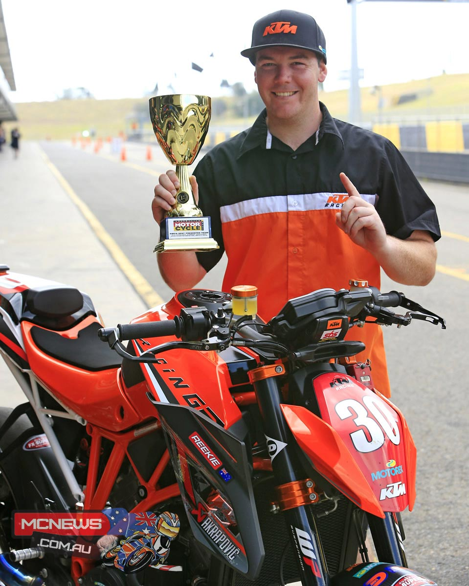 Angus Reekie and his beloved 1290 Super Duke R not only won the Aussie Naked Bike title in a cliffhanger, but also took out the AMCN Best Presented Award for 2014.
