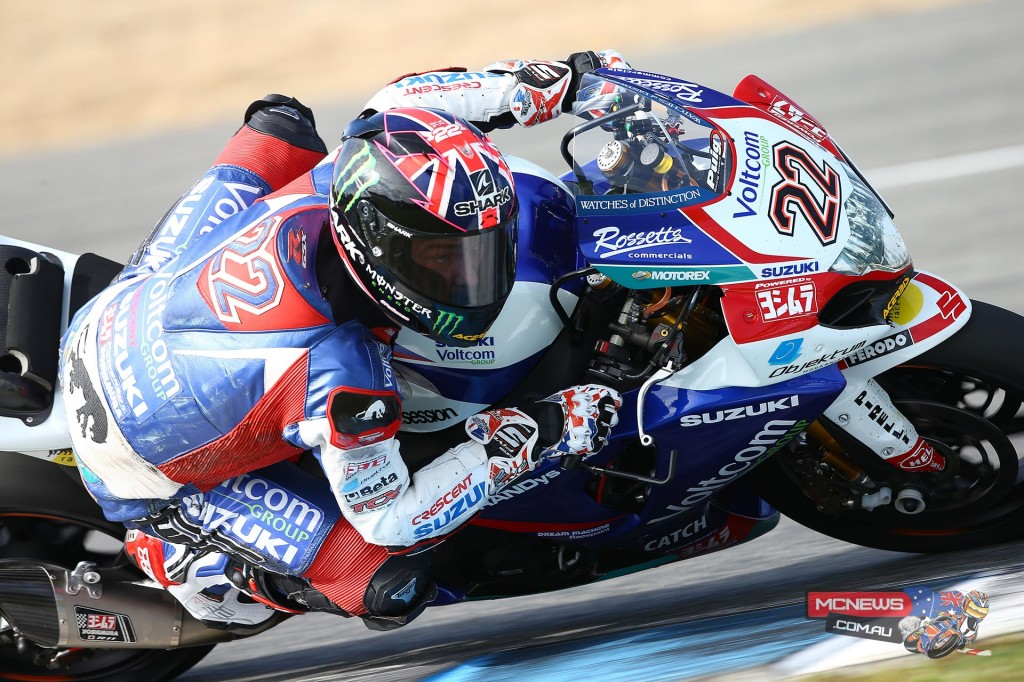Voltcom Crescent Suzuki's Alex Lowes topped the times after the second day of testing at a dry Circuito de Jerez as he and team-mate Randy de Puniet continued the evaluation of their 2015 FIM World Superbike Championship challengers.