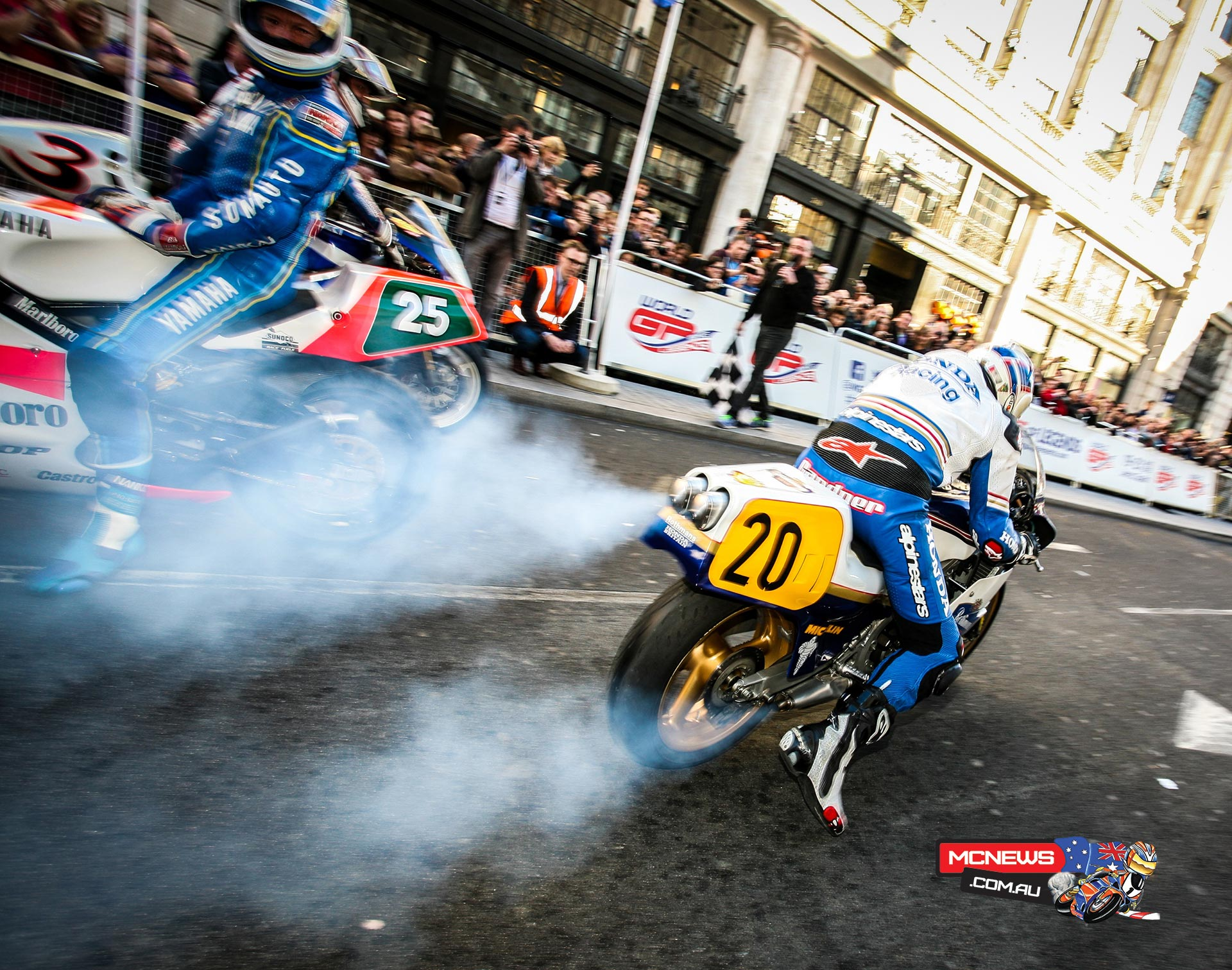 Freddie Spencer, Wayne Gardner, Christian Sarron and Didier de Radiguès presented all-new World GP Bike Legends at the Regent Street Motor Show.