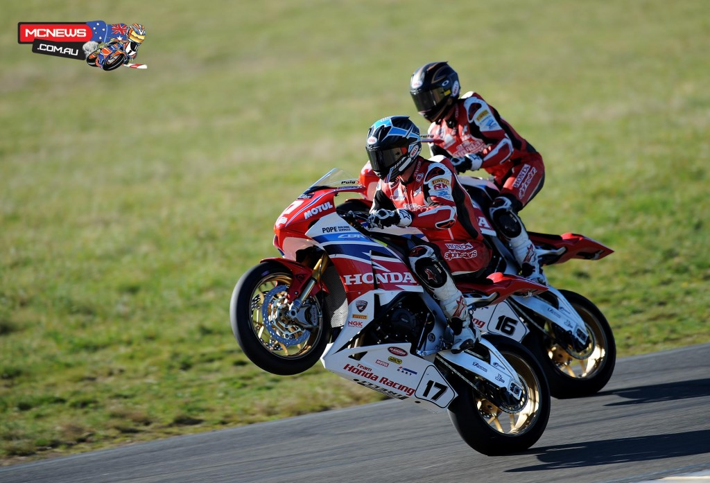 Troy Herfoss and Josh Hook stand the Team Honda Racing Fireblades up at Wakefield Park
