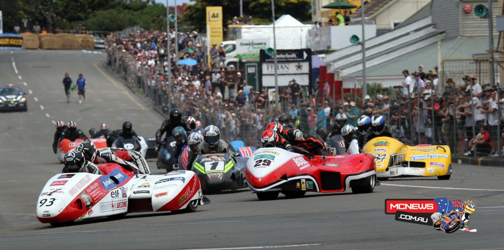 Aaron Lovell leads Adam Unsworth and sidecar field in race one at Wanganui on Boxing Day 2014. Photo by Terry Stevenson