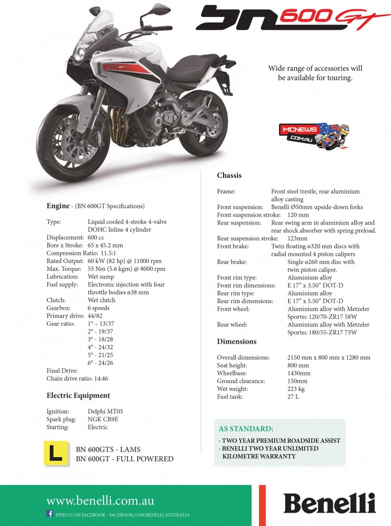 Benelli BN 600 GT Specifications