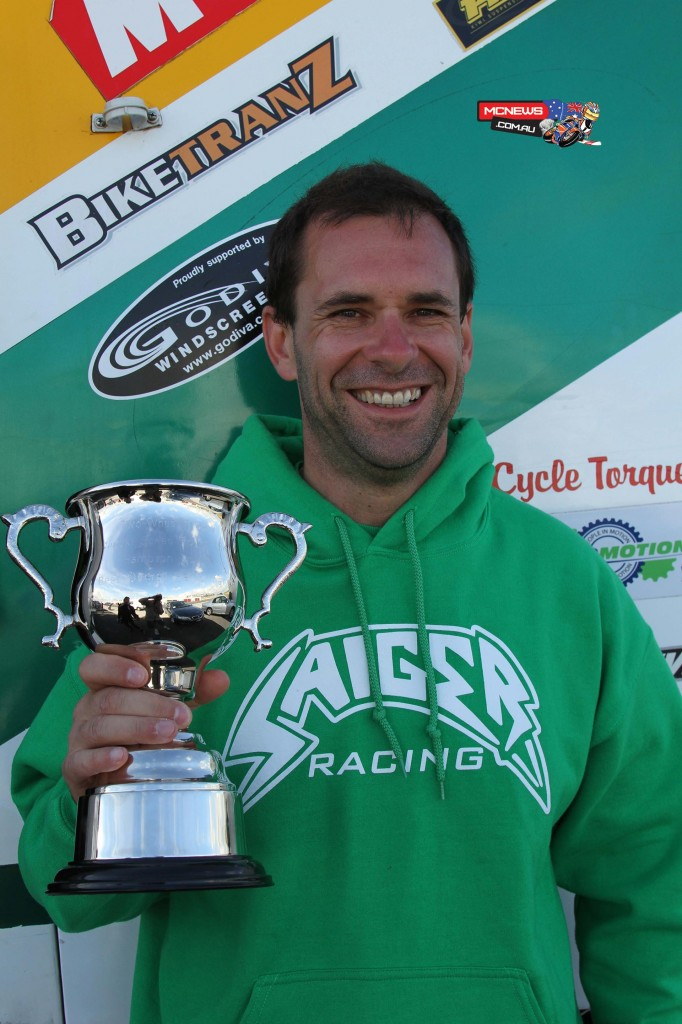 Horst Saiger awarded the Hampton Downs Best Overall Performance trophy on Sunday