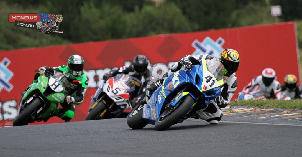 Jaden Hassan leads the F1 Superbike class from Horst Saiger & Scott Moir during race one