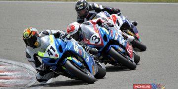 Suzuki trio Jayden Hassan leads Sloan Frost & Scott Moir during F1 Superbike race 1
