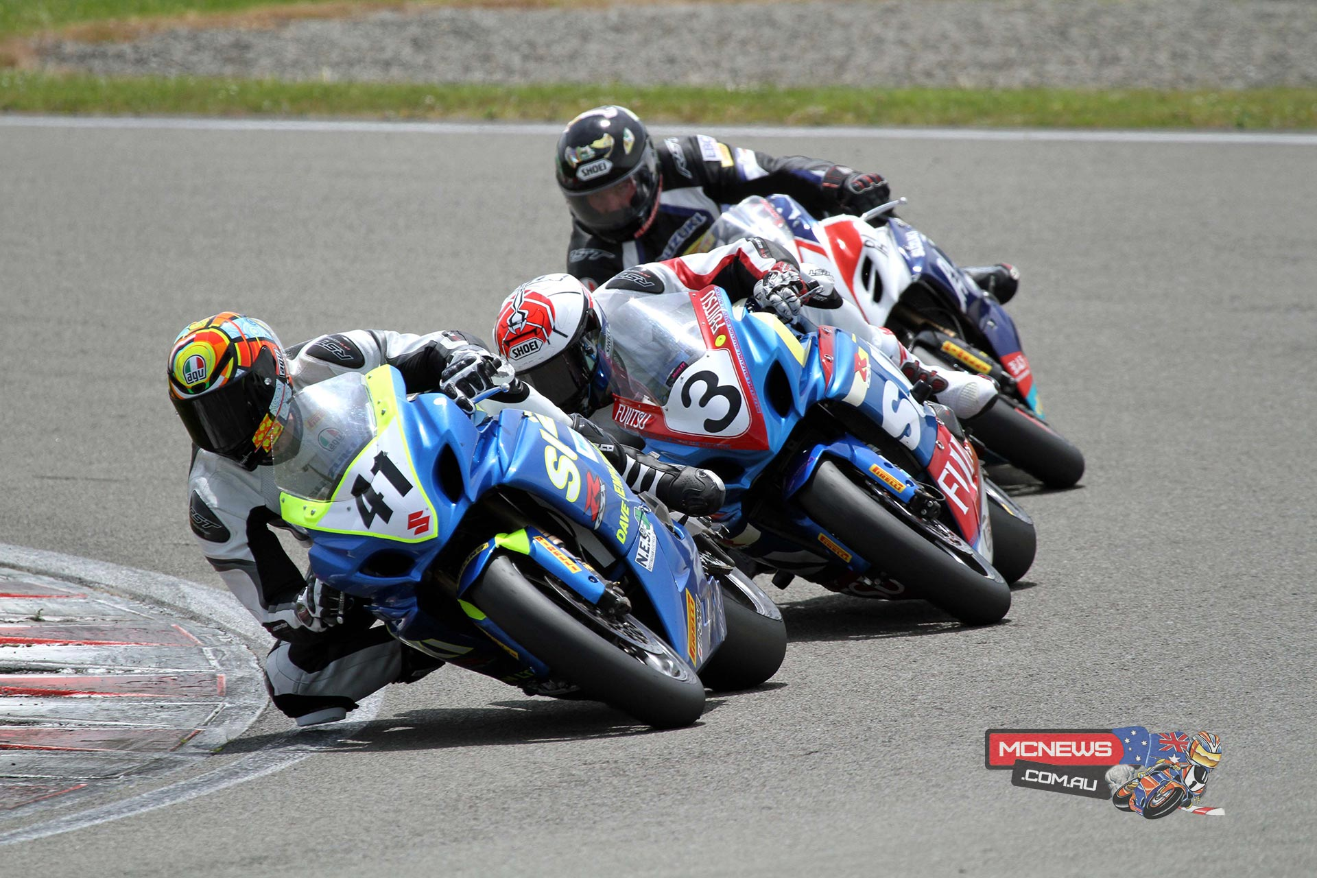 Suzuki trio Jayden Hassan leads Sloan Frost & Scott Moir during F1 Superbike race 1