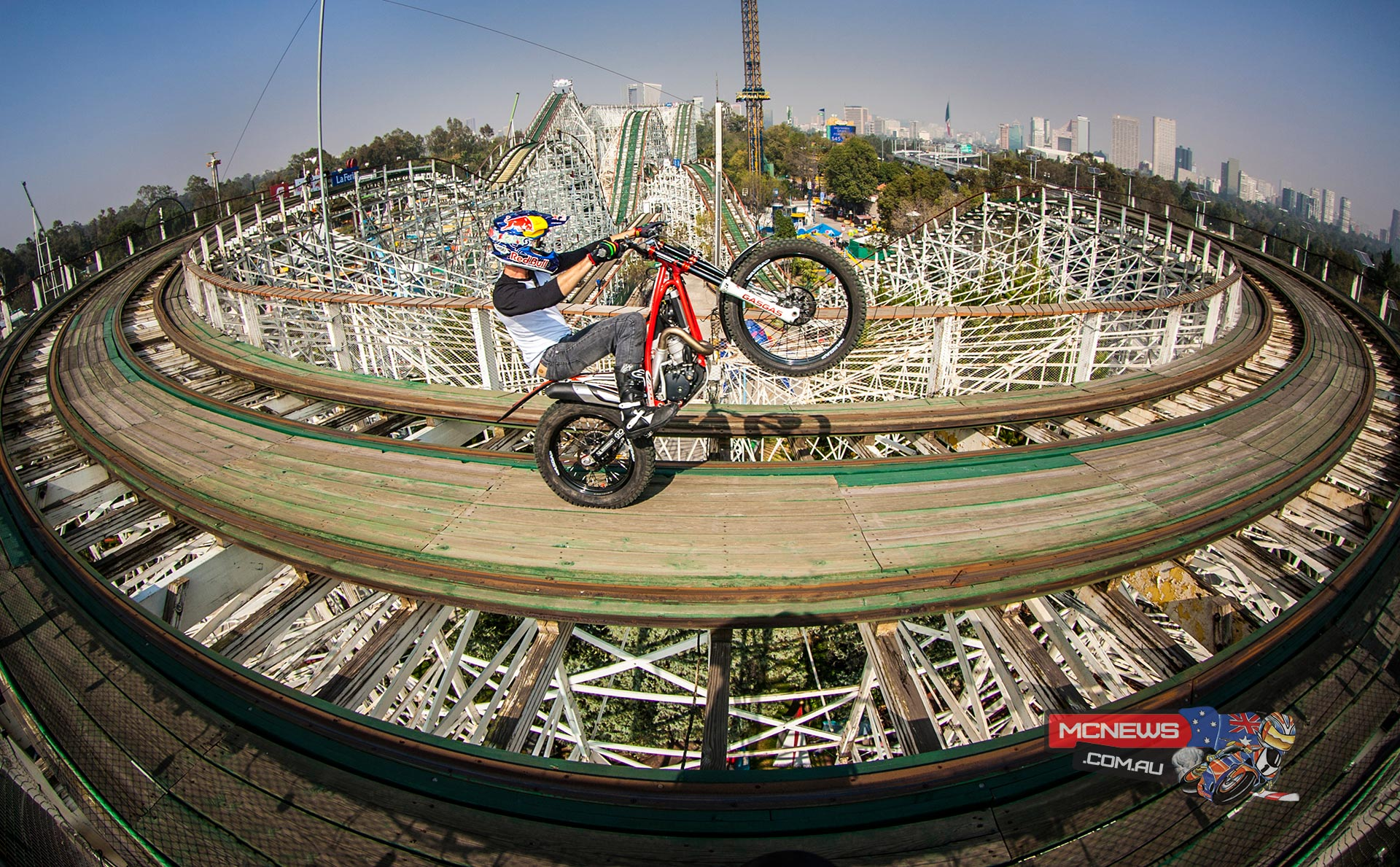 Julien Dupont rode a roller coaster on a trial bike: La Feria de Chapultepec, Mexico City