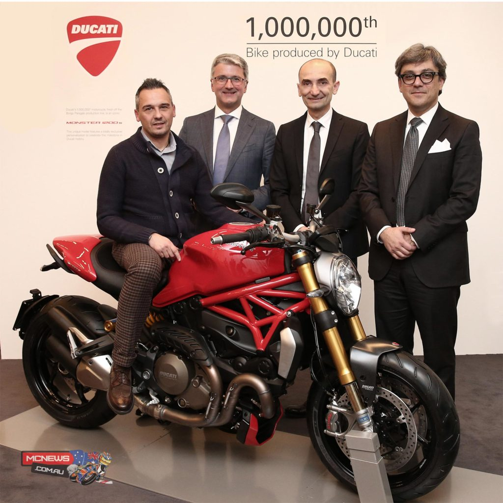 Ernesto Passoni, a 47 year-old from Cinisello Balsamo near Milan, has always been a Ducatista and now, awaiting delivery of the bike he ordered from a dealer, he was told that his would be the millionth Ducati to be produced. His loyalty to the brand was rewarded with the added value of a special customisation and a presentation ceremony in the presence of Audi and Ducati top management.