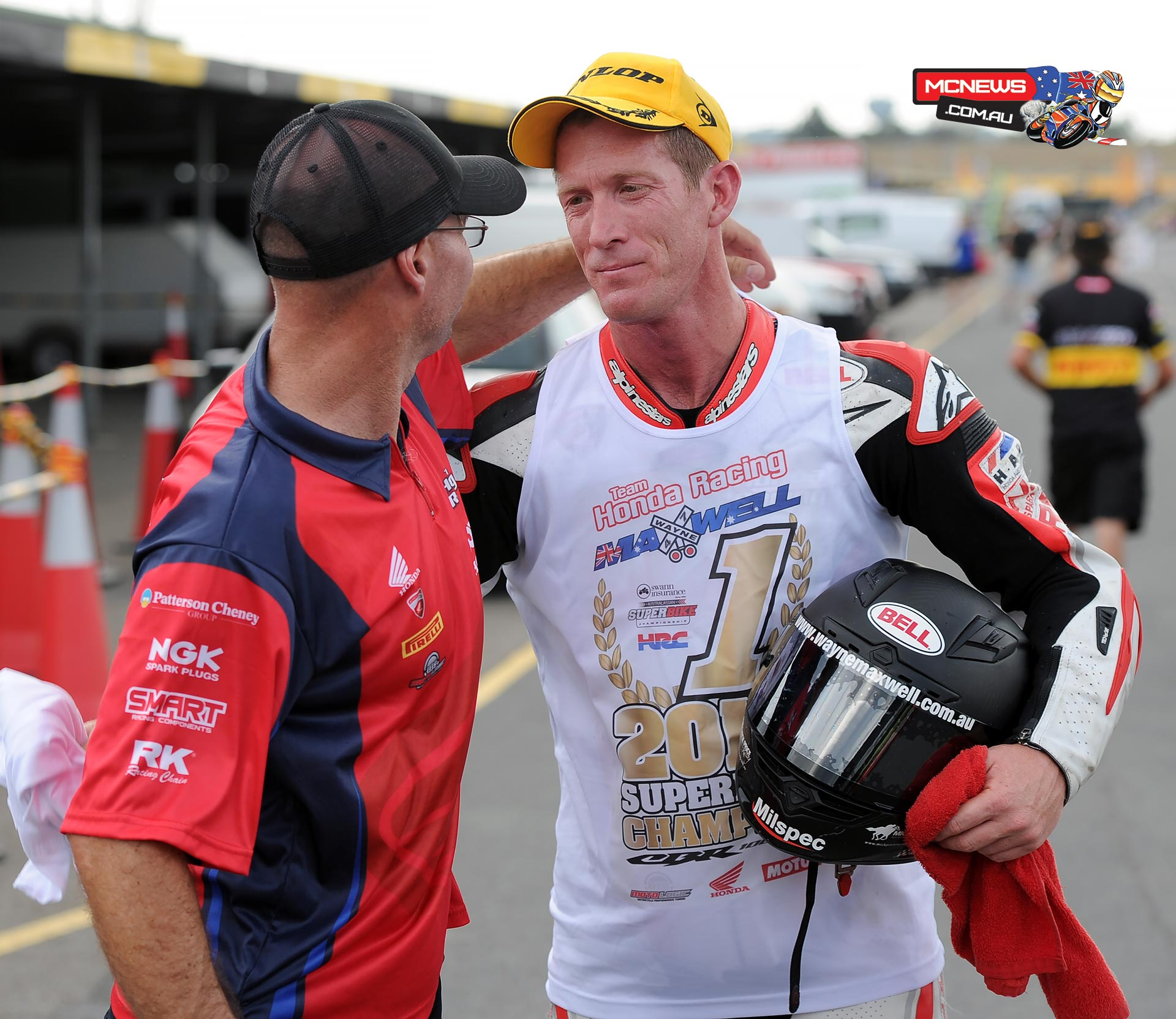 Paul Free with 2014 Swann Australasian Superbike Champion Wayne Maxwell at Eastern Creek