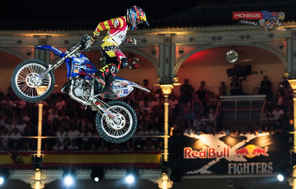 Thomas Pages of France performs during the finals of the third stage of the Red Bull X-Fighters World Tour in Madrid, Spain on June 27, 2014.