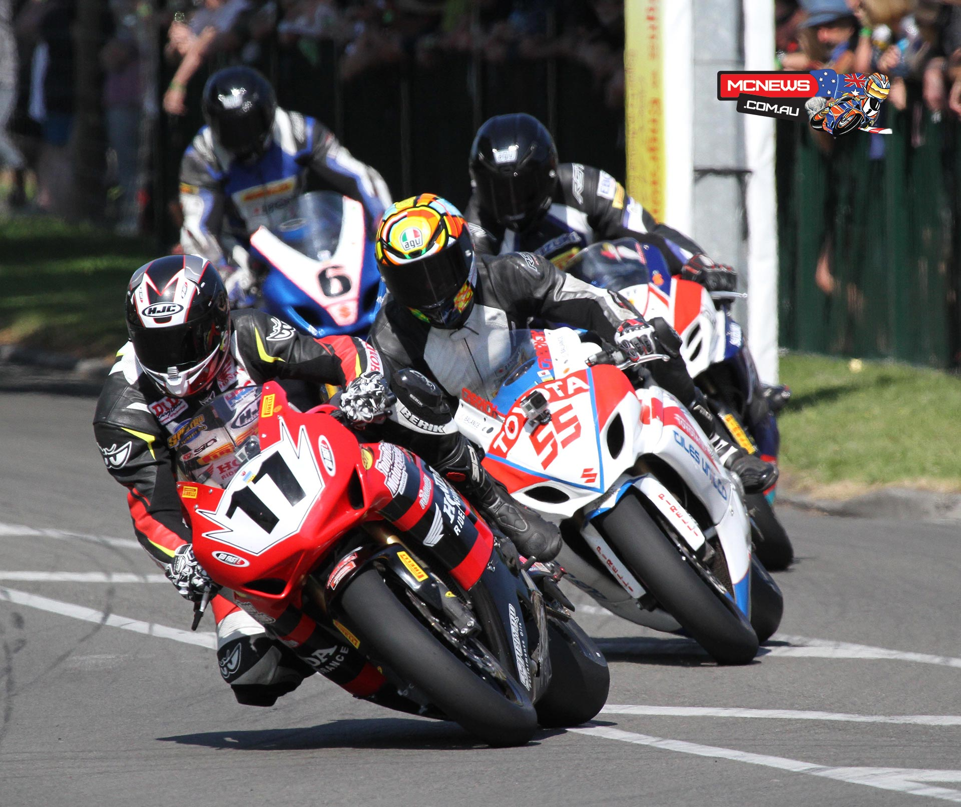 Tony Rees leads Jayden Carrick, Hayden Fitzgerald & Horst Saiger in F1 Superbike race 1 at Wanganui on Boxing Day. Photo by Terry Stevenson