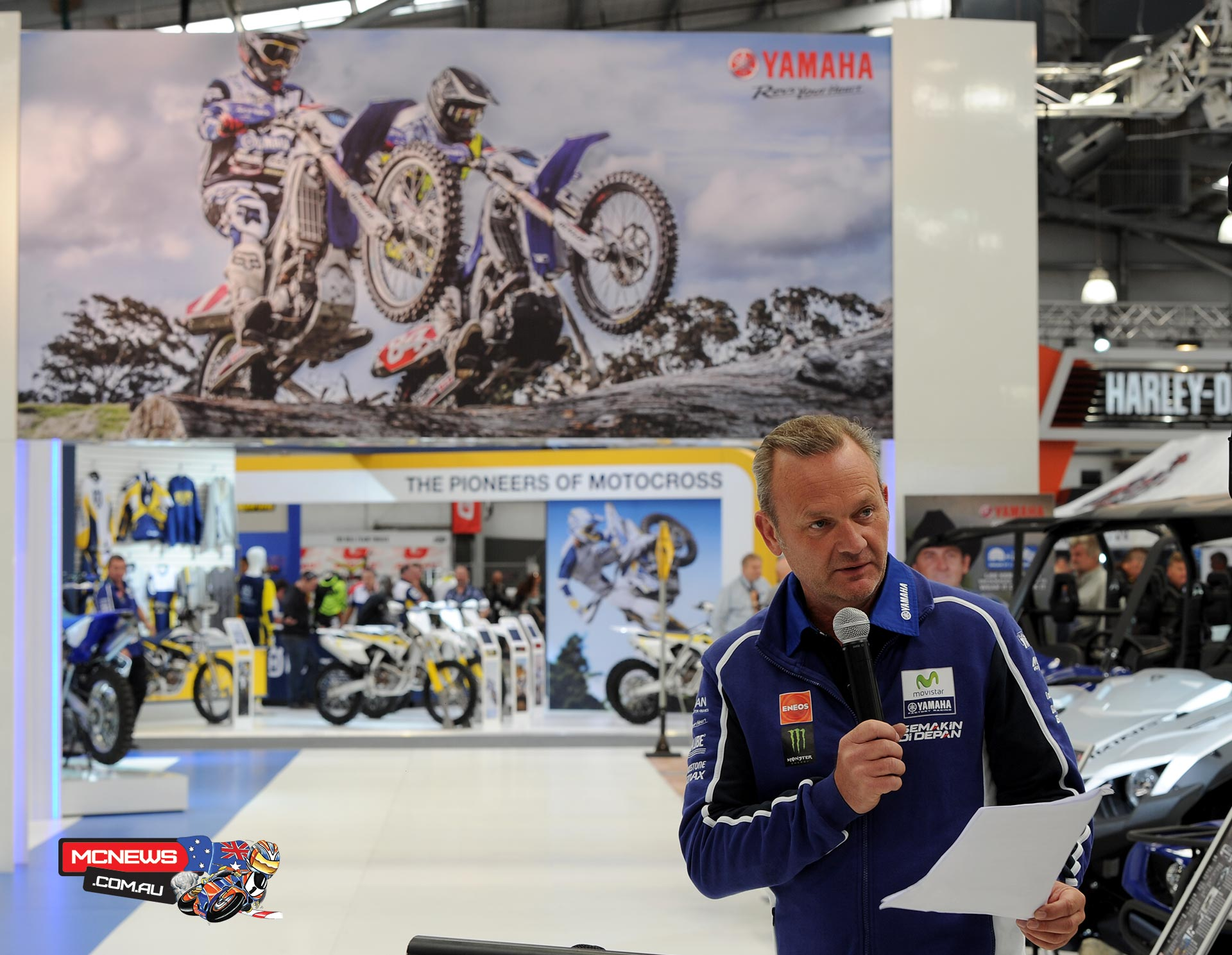 Yamaha's Sean Goldhawk presented new Yamaha product at Moto Expo