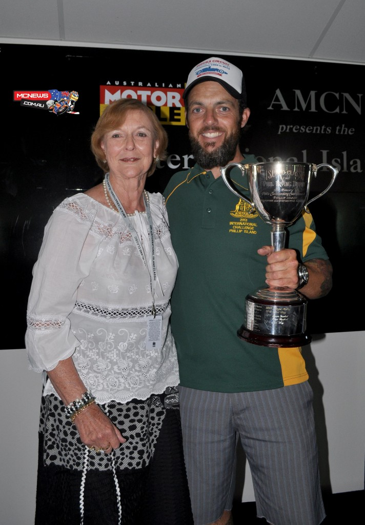 Cam Donald receiving the Phil Irving Trophy in 2013