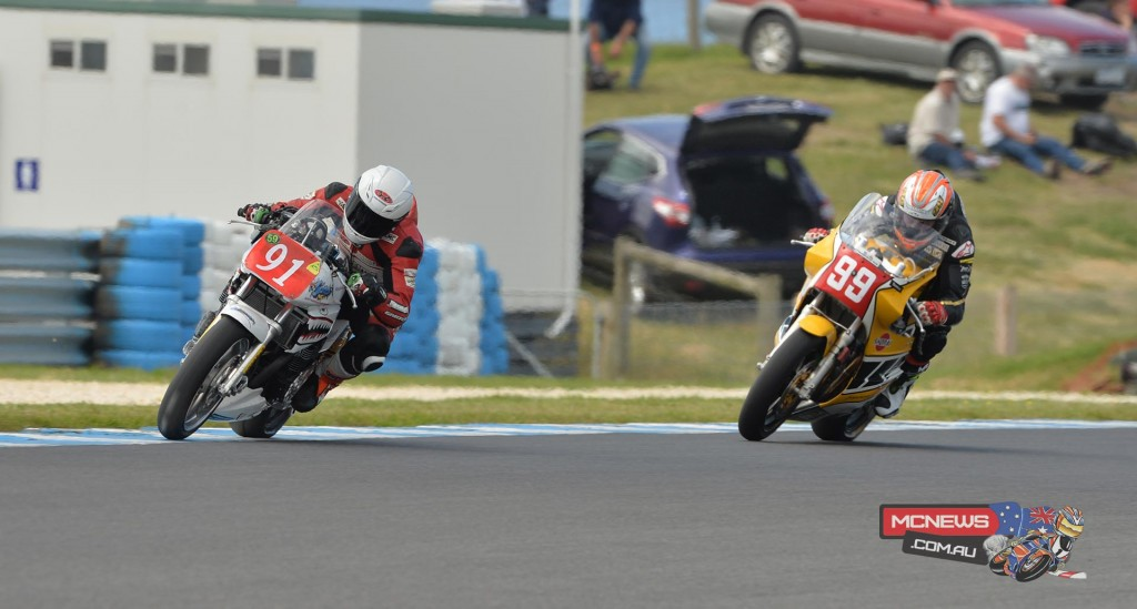 Jed Metcher leads Jeremy McWilliams. It went down to the wire but McWilliams emerged the victor