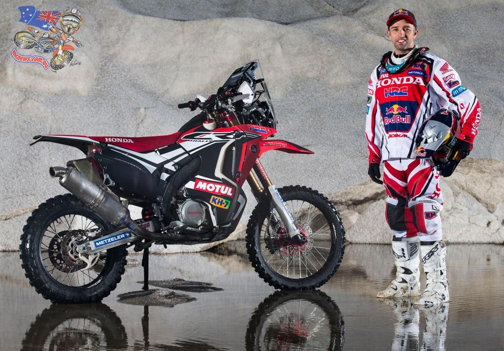 Helder Rodrigues in the studio before Dakar 2015 with his Honda CRF450 Rally