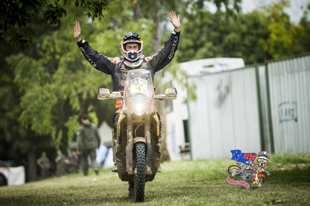 Marc Coma a picutre of relief after realising Dakar 2015 was his
