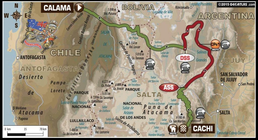 Dakar 2015 Stage Ten Map
