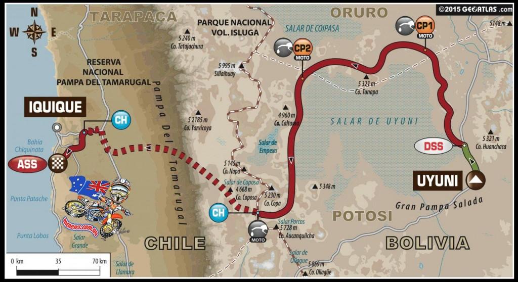 Dakar 2015 Stage 8 Map - Uyuni (BOL) – Iquique (CHI)