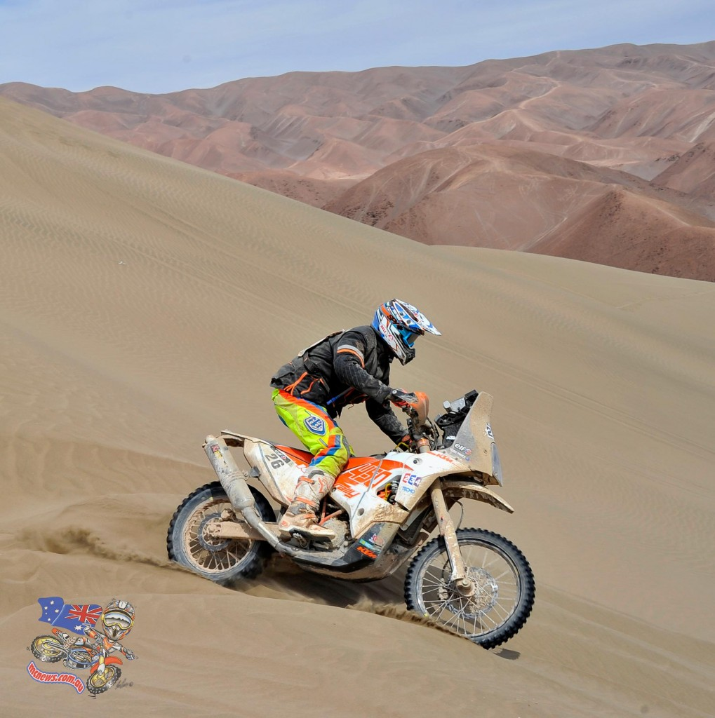 Toby Price in action during stage nine of Dakar 2015