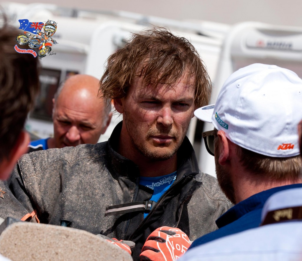 Toby Price back in the bivouac after stage nine of Dakar 2015