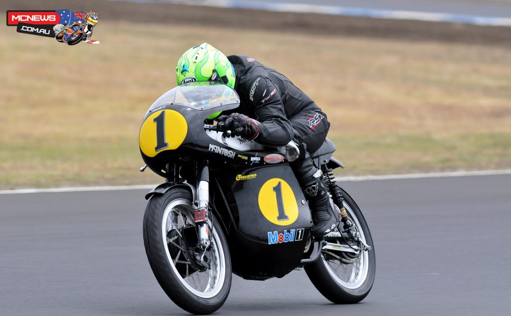 Cameron Donald en route to Victory on the Norton Manx 500 in 2013