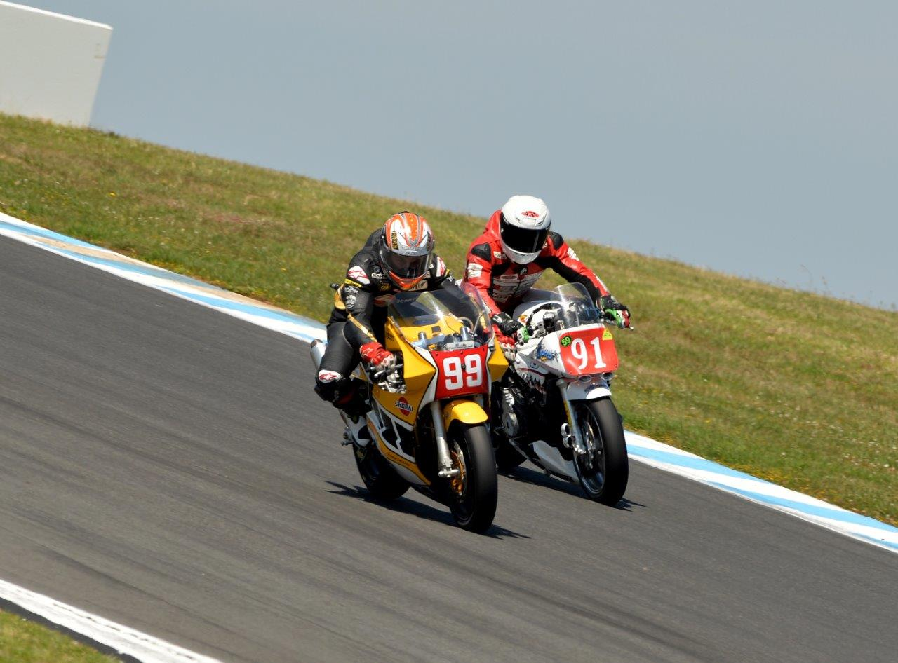 Jed Metcher leads Jeremy McWilliams. It went down to the wire but McWilliams emerged the victor - Pic Russell Colvin