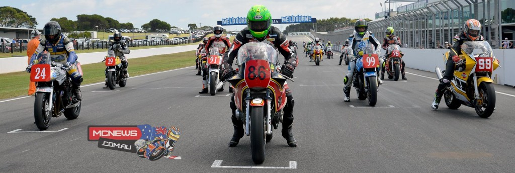 Jeremy McWilliams (right) rolls in to take pole position alongisde Cameron Donald (#86 centre)  and Brendan Roberts (#24 left)
