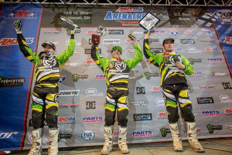 An all Green podium in Cincinatti AMSOIL Arenacross 2015 season opener