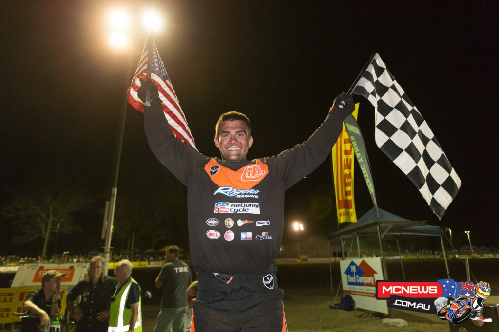 Jarad Mees celebrates victory at the 2015 Troy Bayliss Classic