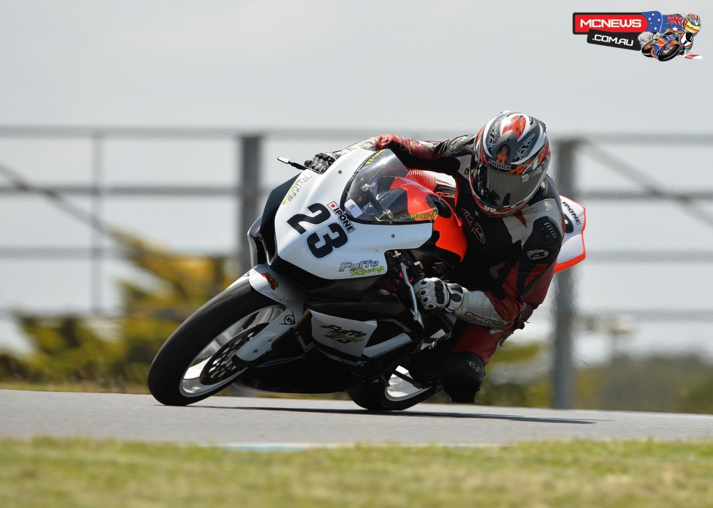 Laurie Fyffe tries his sons GSX-R600 on for size
