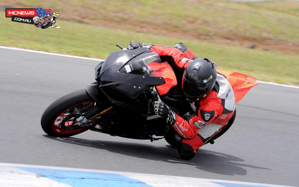 Matt Fyffe, son of Laurie, tests his new Aprilia RSV4