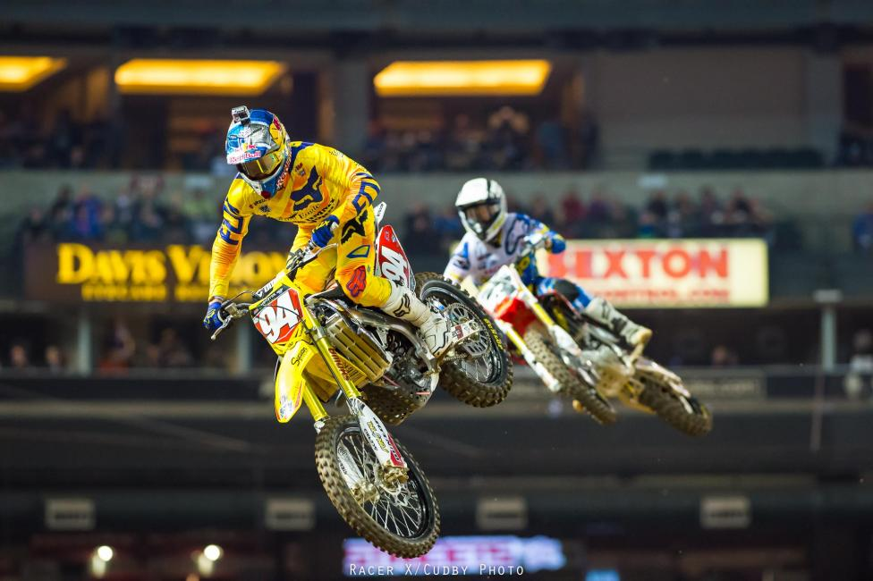 Ken Roczen and Eli Tomac went wheel to wheel at Phoenix with Tomac emerging victorious