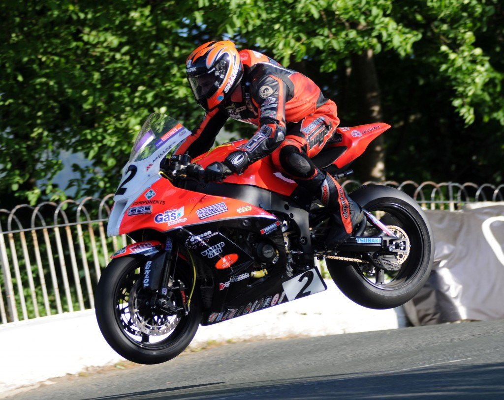 Ryan Farquhar on his KMR Kawasaki jumps Ballagh Bridge during the second Superbike qualifying session at the 2012 Monster Energy Isle of Man TT PHOTO BY SIMON PATTERSON/PACEMAKER