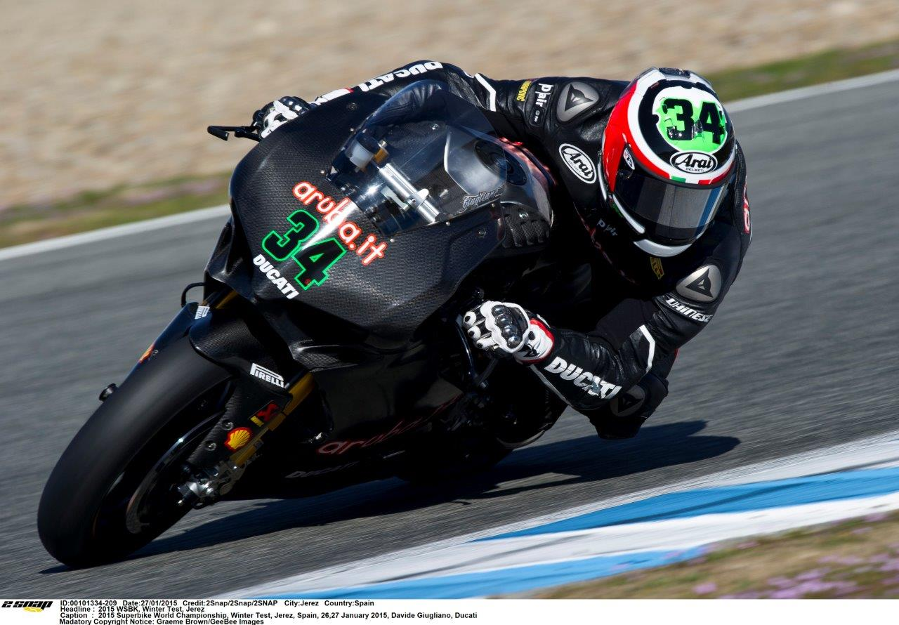 The last European private test of the pre-season concluded today at Southern Spain's Circuito de Jerez with Davide Giugliano topping the timesheets courtesy of an impressive 1:39.332 lap time set with less than an hour to go