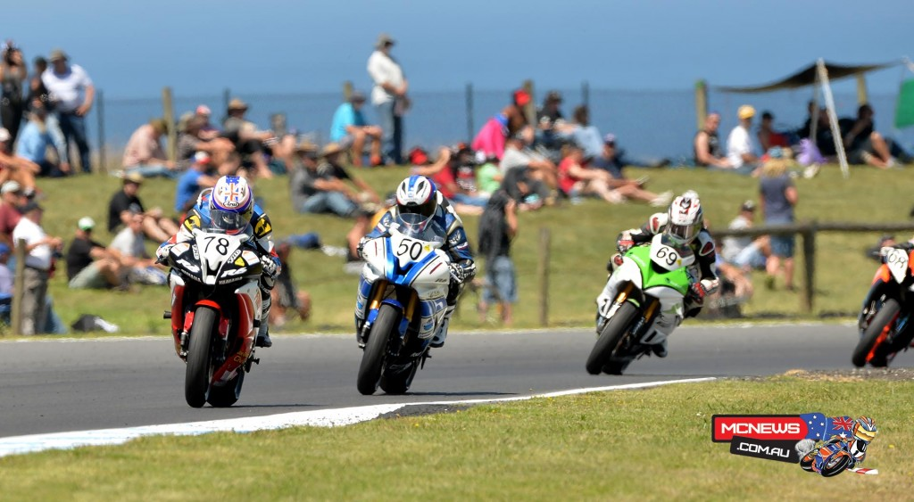 Blair leads Spriggs and Young in the opening Australian Supersport race at Phillip Island