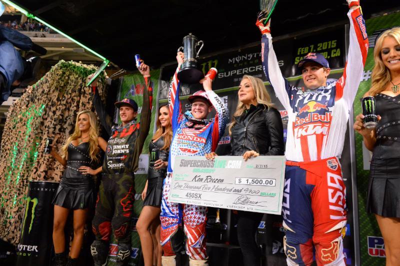 450SX Class podium - Ken Roczen (left), Trey Canard (center) and Ryan Dungey (right) Photo Credit: Simon Cudby