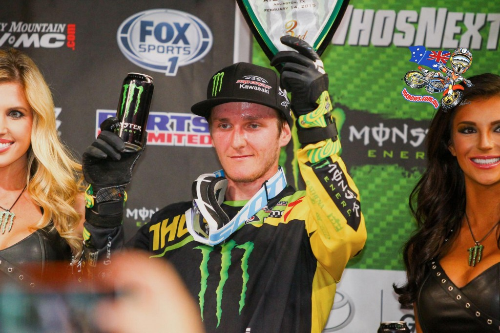 Monster Energy/Pro Circuit/Kawasaki's Joey Savagy finished third, his best finish of his career.