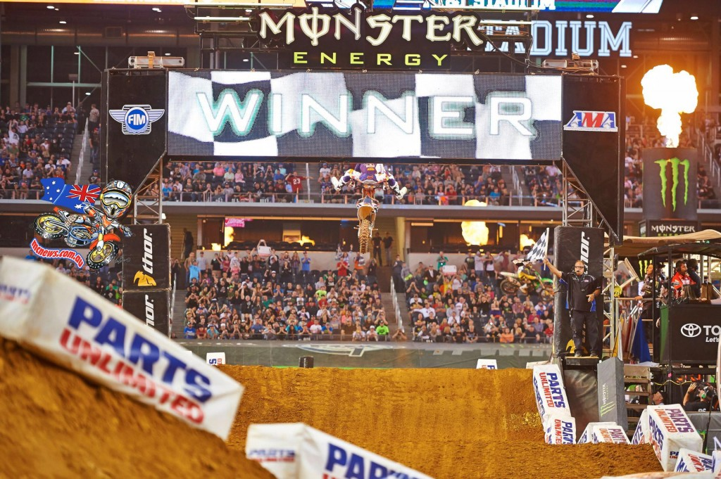 Dungey celebrating his 450SX Class Main Event win in Arlington
