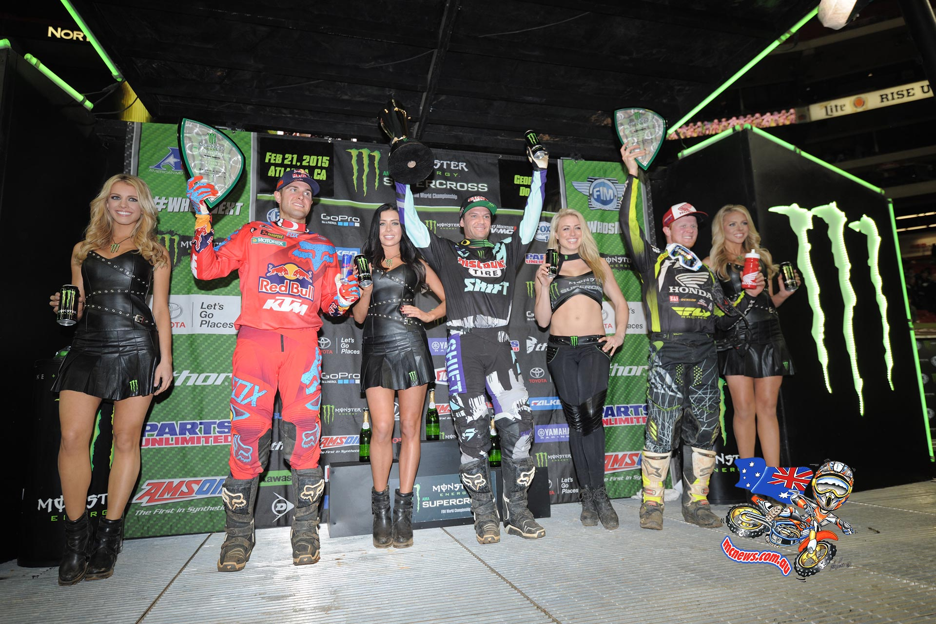 (From Left to Right) Dungey, Reed, and Canard celebrate on the podium in Altanta.