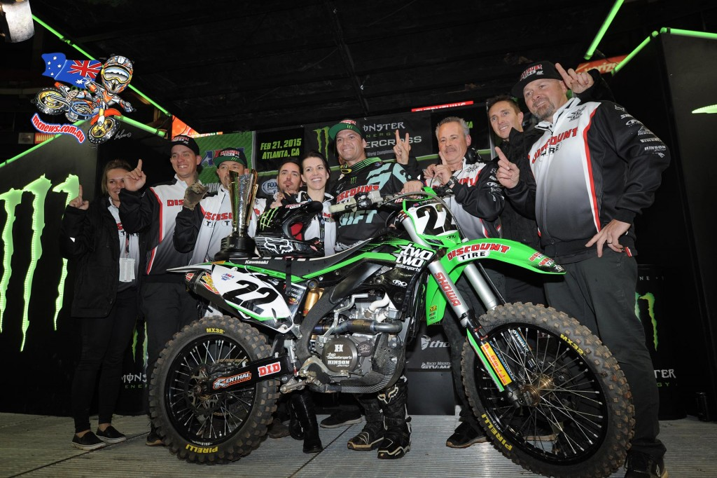 Chad Reed celebrates his first victory of the season at the first of two races in Atlanta