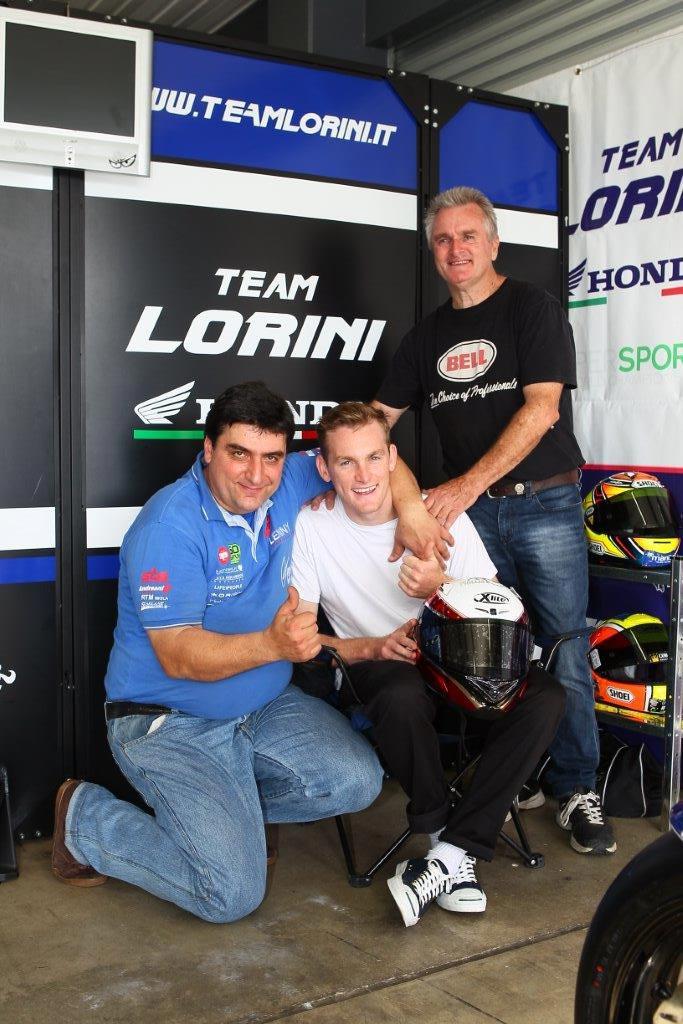 Alex Phillis with team owner Livio Lorini and famous WSBK dad Robbie Phillis