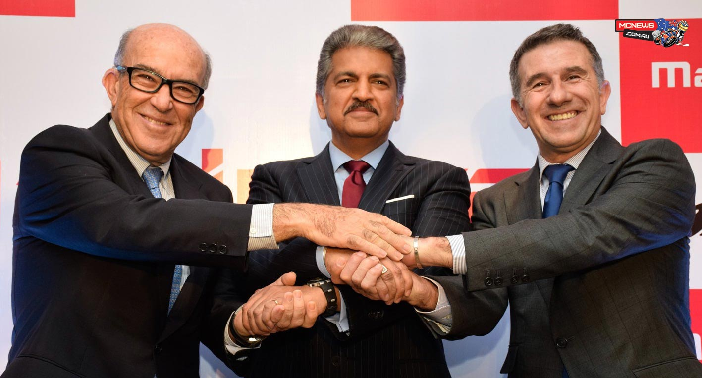 Mr. Anand Mahindra, Chairman, Mahindra Group, welcomed Mr. Carmelo Ezpeleta (CEO of MotoGP rights-holder Dorna Sports) and Mr. Jorge 'Aspar' Martinez (CEO of Mahindra Racing's new partner, the Aspar Team).