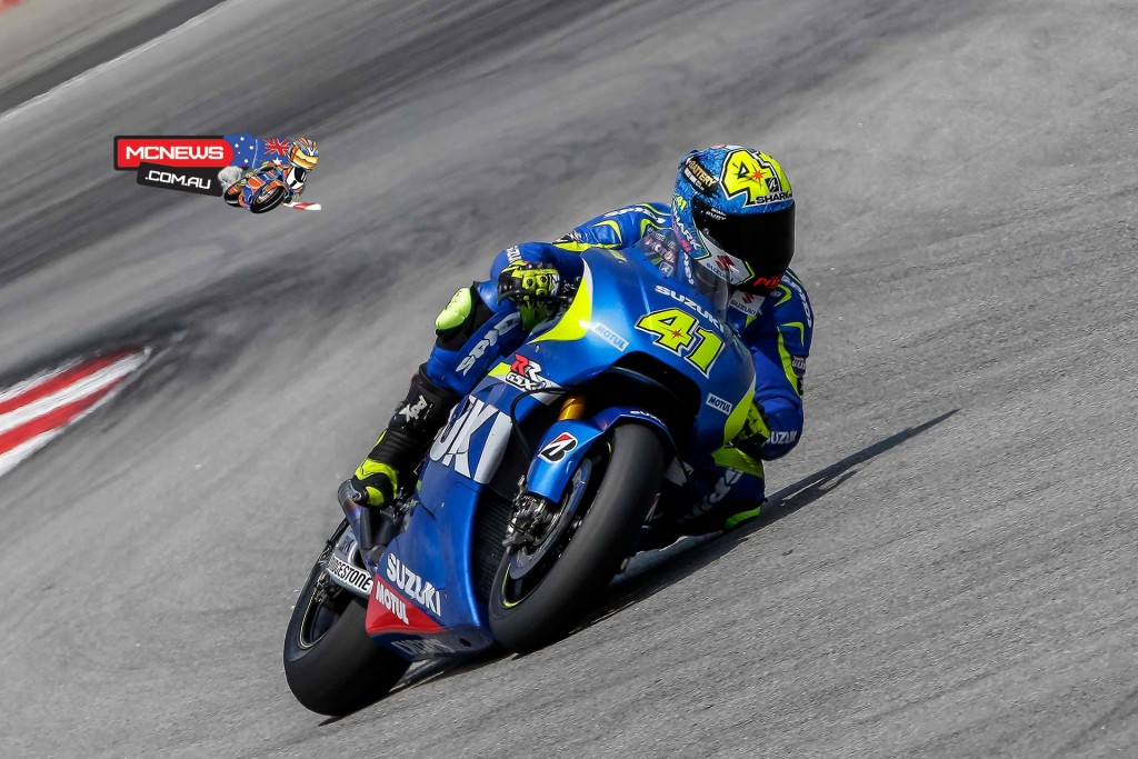 """Aleix Espargaro: """"It has been a positive day of testing because we made some improvements. The track was more slippery and dirty today so I had to get back the confidence, but I have very good feelings. We are working on the performance improvement but working little-by-little, so I was a little surprised by the speed and power that the bike had today. I also had the chance to test the bike in wet conditions and I feel very comfortable: it is small and easy to handle so I feel confident. Tomorrow morning we will try some set-up modifications and in the afternoon we will work on the pace; since it is maybe more important than the single lap."""""""